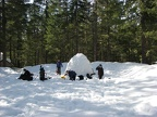 We made an igloo and camped in the parking lot for the tale of two forests trail