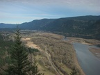 From the top of Beacon Rock there are great views to the east with Boneville Dam in the distance. The trees along the river will soon burst into green.