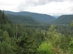 View of the Lewis River Valley near the trailhead for Big Creek Falls.