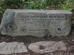 Stone monument on the Burnt Bridge Creek Trail commemorating Ellen Davis at the beginning of the Ellen Davis Trail in Hazel Dell