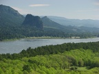 Beacon Rock and the Columbia River from the Horsetail Creek Trail.