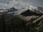 Mt. Rainier and Little Tahoma rest under a blanket of clouds along Emmons Glacier View Trail.