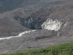 The toe of the Emmons Glacier is covered in debris that has fallen onto the glacier as it is constantly pushed down the mountain.