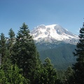 Mt. Rainier viewed from a knob above the first sloping meadow along the Glacier View Trail.