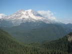A panoramic view of Mt. Rainier from the old fire lookout on the Glacier View Trail.