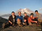 Our Washington Trails Association work party enjoying the sunset at Glacier View. From left to right, Joe, Steve, Janel, Chris, and Ryan.