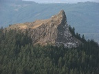 Sturgeon Rock showing the columnar basalt, viewed from Silver Star Mountain.