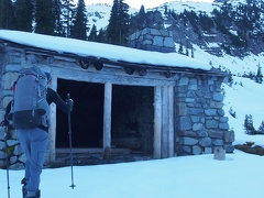 The Indian Bar shelter is a welcome sight after negotiating an icy hillside down to Indian Bar.
