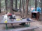 Our first night at Mammoth Mtn RV Park in Mammoth Lakes. You can see the bear box in the background.