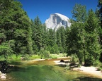 Merced River Half Dome in Yosemite Valley California