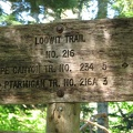 The junction of the June Lake Trail and the Loowit Trail is below timberline as you can see from this shaded trail sign.