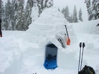 The completed igloo stands ready for the storm. It will be quiet and cozy for me.