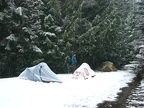 It was dark when we drove almost to the trailhead before before the snow was too deep on the road to continue. We camped at the trailhead Friday night. The weather cooled overnight and the wet snow froze to the tents.