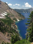 A nice view of Crater Lake showing the greener water at the shoreline as seen from Sun Notch Trail.