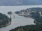 Looking east from Wauna Viewpoint towards Cascade Locks and the Bridge of the Gods which crosses the Columbia River