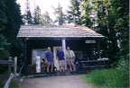 THis is the Mowich Ranger cabin with Todd, Steve and Me on the right.