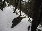 The rockwork along the trail shows up nicely when the trail and hillside are covered in snow.