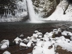Winter weather creates an icy pool at Horsetail Falls