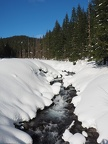 You have to walk on the snowmobile trail when you cross the creek.