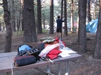 Setting up at the backpacker camp