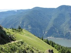 Looking south at the upper portion of the Dog Mountain Trail and the Columbia River.