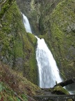 Wahkeena Falls cascades down the basalt cliffs in the Columbia River Gorge.