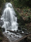 Fairy Falls spills over a basalt cliff next to the Wahkeena Falls Trail in the Columbia River Gorge.