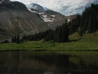 A small lake is next to Glacier Basin Campground. This is the end of the maintained trail.