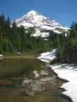 A seasonal pond near the top of the Mazama Trail provides a beautiful reflection of Mt.Hood.