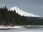 Mt. Hood from the south shore of Trillium Lake. Even in late winter the lake is melting out along the shoreline.
